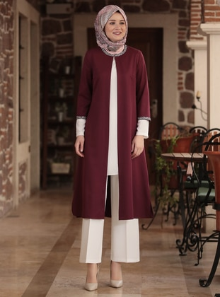 Plum - Unlined - Crepe - Suit - Amine Hüma
