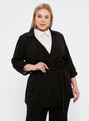 Black - Shawl Collar - Unlined - Plus Size Jacket