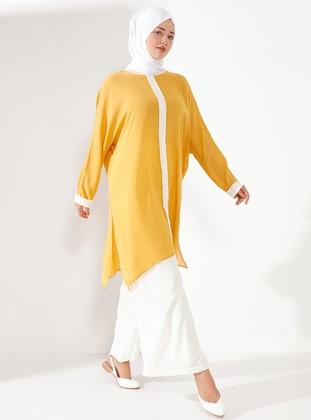 Ecru - Yellow - Crew neck - Unlined - Plus Size Suit