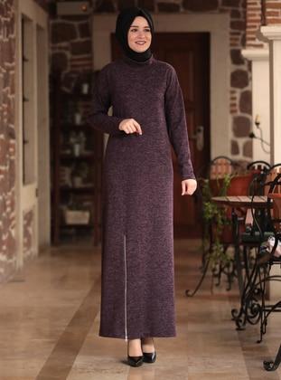 Purple - Crew neck - Unlined - Acrylic -  - Dress