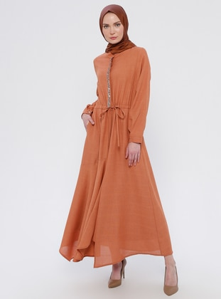 Orange - Crew neck - Fully Lined - Dress