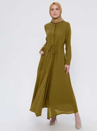 Khaki - Crew neck - Fully Lined - Dress