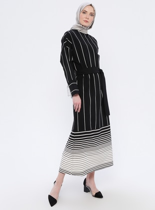 White - Black - Stripe - Crew neck - Unlined - Dress