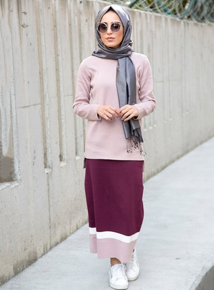 Plum - Unlined -  - Skirt - İnşirah
