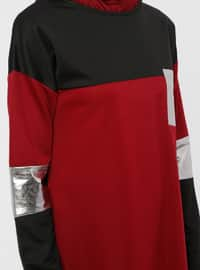Maroon - Black - Crew neck - Unlined - Dress