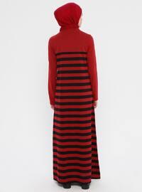 Maroon - Gray - Stripe - Crew neck - Unlined -  - Dress