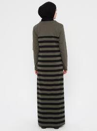 Khaki - Black - Stripe - Crew neck - Unlined -  - Dress