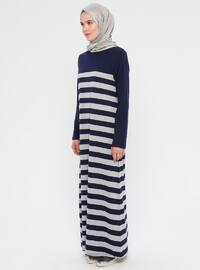 Gray - Indigo - Stripe - Crew neck - Unlined -  - Dress