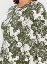 White - Ecru - Green - Multi - Unlined - Crew neck -  - Plus Size Dress