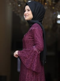 Plum - Fully Lined - Crew neck - Muslim Evening Dress