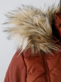 Brown - Fully Lined - Polo neck - Puffer Jackets