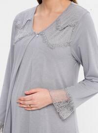 Gray - Lilac - V neck Collar - Nightdress