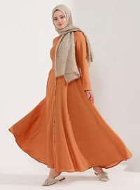 Orange - Fully Lined - Point Collar - Plus Size Dress