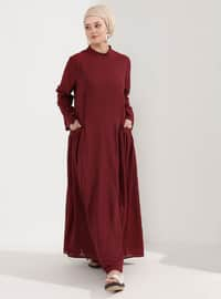 Fuchsia - Fully Lined - Crew neck - Plus Size Dress