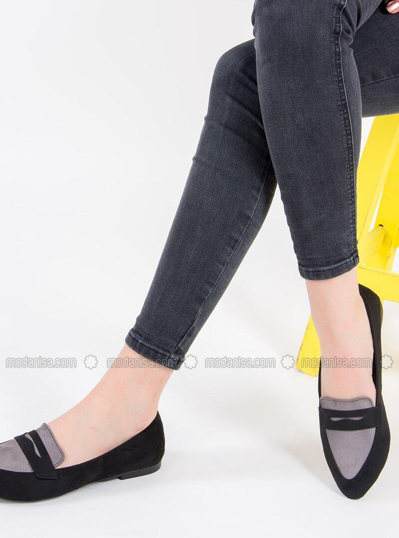 Gray - Black - Flat - Flat Shoes