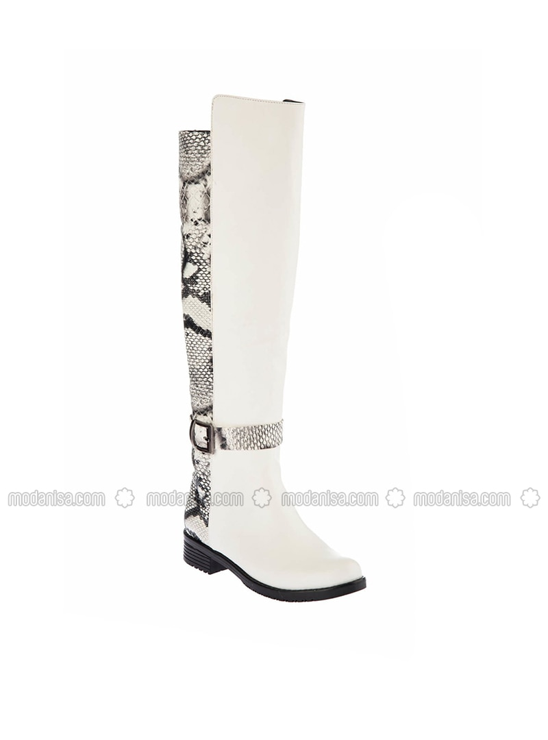 White - Black - Boot - Boots