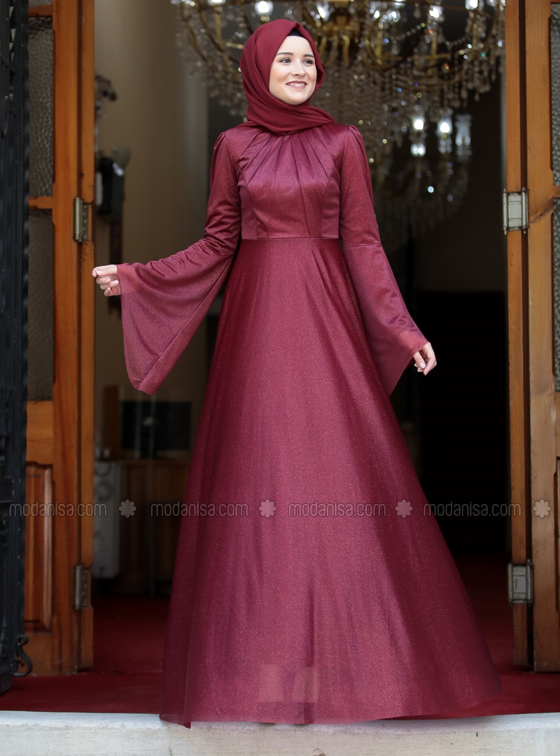 Maroon - Fully Lined - Crew neck - Muslim Evening Dress