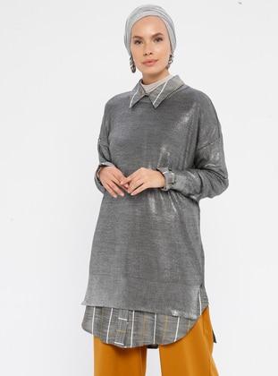 Silver tone - Crew neck - Acrylic -  - Knit Tunics