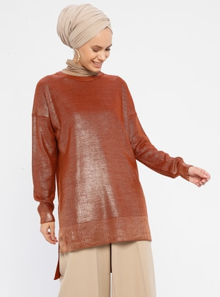 Terra Cotta - Crew neck - Acrylic -  - Knit Tunics