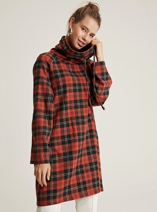 Orange - Plaid - Polo neck -  - Tunic