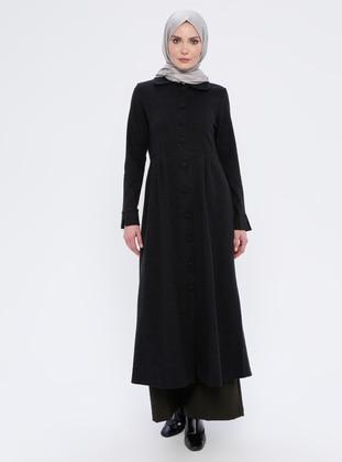 Black - Unlined - Point Collar - Acrylic -  - Topcoat