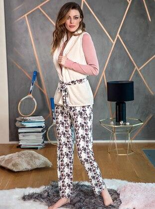 Ecru - Crew neck - Pyjama