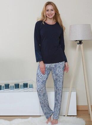 Navy Blue - Crew neck - Floral - Viscose - Pyjama