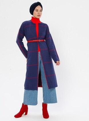 Indigo - Stripe - Polo neck - Acrylic -  - Knit Cardigans