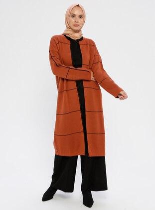 Terra Cotta - Stripe - Polo neck - Acrylic -  - Knit Cardigans
