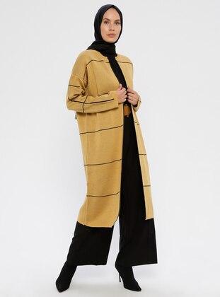 Yellow - Stripe - Polo neck - Acrylic -  - Knit Cardigans