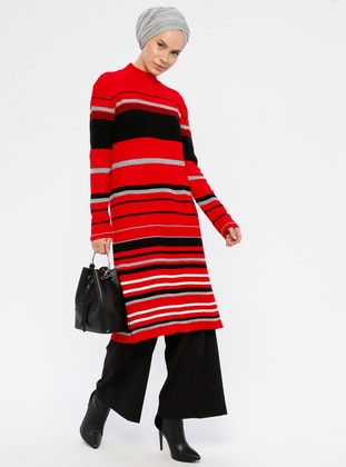 Red - Stripe - Polo neck - Acrylic -  - Knit Tunics