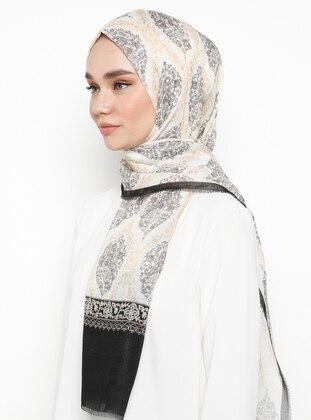 Multi - Black - Printed - Shawl