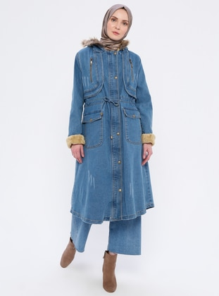 Blue - Fully Lined - Denim -  - Puffer Jackets