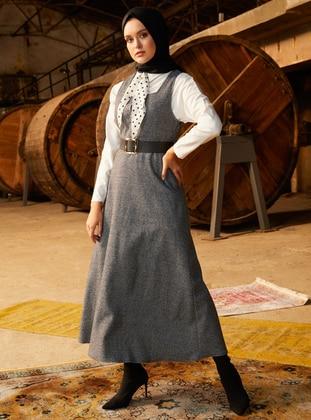 Gray - Sweatheart Neckline - Unlined - Dress