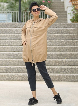Camel - Unlined - Crew neck - Acrylic -  - Trench Coat