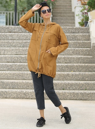 Tan - Unlined - Crew neck - Acrylic -  - Trench Coat