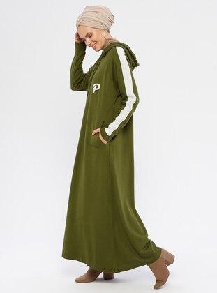 Khaki - Polo neck - Unlined - Acrylic -  - Knit Dresses