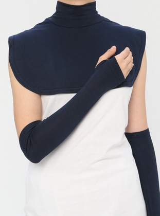 Navy Blue - Viscose - Neckcover