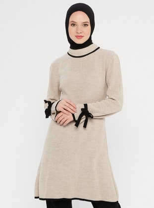 Cream - Polo neck - Acrylic -  - Tunic