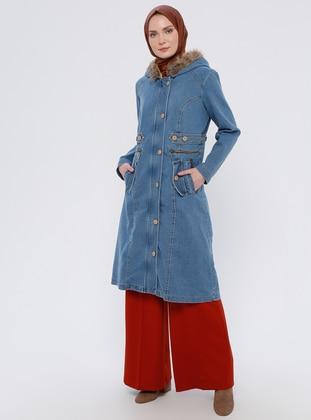 Blue - Unlined - Denim -  - Puffer Jackets
