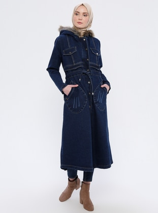Blue - Unlined - Denim -  - Puffer Jackets