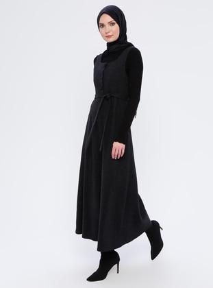 Black - Sweatheart Neckline - Unlined - Dress