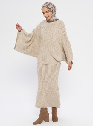 Cream - Unlined - Acrylic -  - Knit Suits