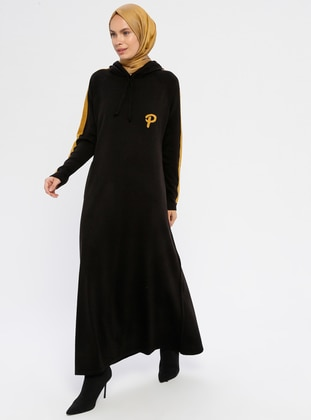 Black - Polo neck - Unlined - Acrylic -  - Knit Dresses