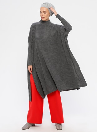 Gray - Polo neck - Acrylic -  - Knit Tunics