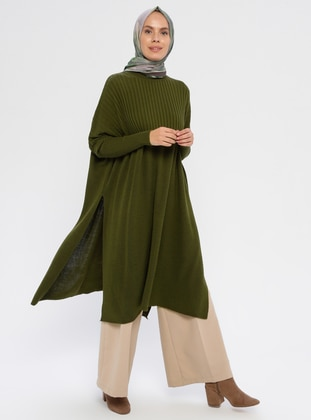 Khaki - Polo neck - Acrylic -  - Knit Tunics