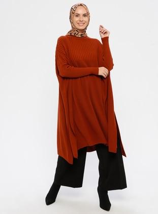 Terra Cotta - Polo neck - Acrylic -  - Knit Tunics
