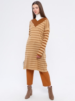 Camel - Stripe - V neck Collar - Acrylic -  - Tunic