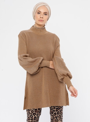 Camel - Crew neck - Acrylic -  - Knit Tunics