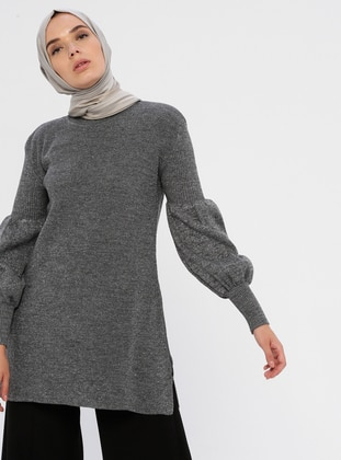 Gray - Crew neck - Acrylic -  - Knit Tunics
